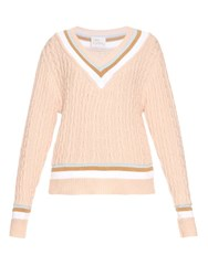 Hillier Bartley Cricket Stripe Cotton And Cashmere Blend Sweater Nude