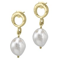 Dower And Hall Open Circle Pearl Drop Earrings Gold White