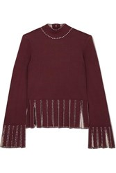 Staud Mika Cropped Fringed Stretch Knit Top Merlot