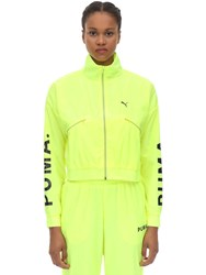 Puma Select Cropped Nylon Track Top Neon Yellow