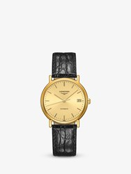 Longines L48212322 'S Presence Automatic Date Leather Strap Watch Black Gold