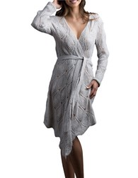 Lemon Scalloped Wool Blend Robe White