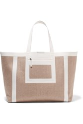 Victoria Beckham Leather Trimmed Linen Canvas Tote Nude