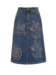 Red Valentino Stud Embellished Denim Midi Skirt