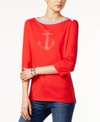 Tommy Hilfiger Esme Studded Anchor Top Only At Macy's Racing Red