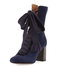 Chloe Harper Lace Up 70Mm Bootie Blue Lagoon