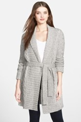 Nydj Belted Cable Knit Cardigan Gray