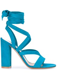 Gianvito Rossi Open Toe Strapped Sandals Women Leather Suede 39 Blue