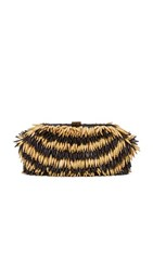 Santi Bead Fringe Clutch Black Gold