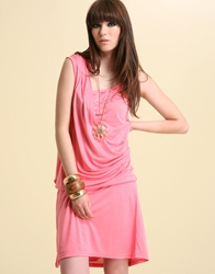 Kookai Ruch And Knot Detail Jersey Dress Pink