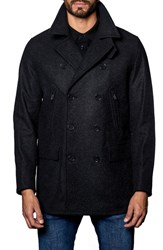 Jared Lang Men's Wool Blend Double Breasted Peacoat Charcoal Flat Wool