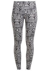 American Apparel Leggings Black White Lined Monk