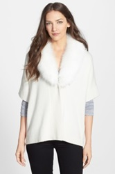Sofia Cashmere Genuine Fox Fur Collar Cashmere Cardigan White