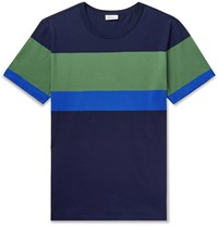 Schiesser Georg Colour Block Cotton Jersey T Shirt Blue