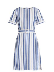 A.P.C. Naxos Striped Cotton Dress Blue White