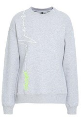 Versus By Versace Embroidered Printed French Cotton Terry Sweatshirt Light Gray
