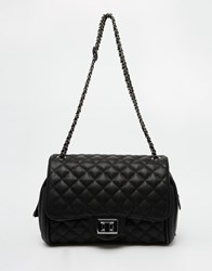 Marc B Quilted Shoulder Bag In Black With Pewter Metal Detail Black