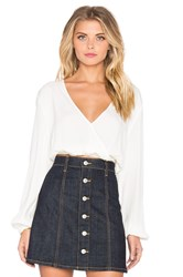 Minkpink Cross Over Crop Top Ivory