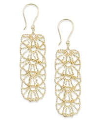 Macy's Diamond Cut Flower Linear Drop Earrings In 14K Gold