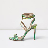 River Island Womens Green Floral Wide Fit Caged Strappy Sandals