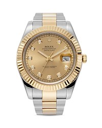 Pre Owned Rolex 18K Yellow Gold And Stainless Steel Datejust Ii Fluted Bezel Watch With Diamond Dial And Oyster Band 41Mm Gold Silver