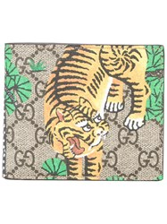 Gucci Gg Supreme Bengal Print Wallet Men Calf Leather One Size Brown