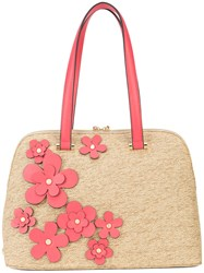Christian Siriano Floral Straw Tote Brown