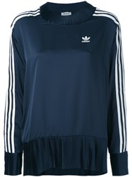 Adidas Originals Pleated Details Sweatshirt Women Polyester 42 Blue