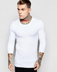 Asos Extreme Muscle 3 4 Sleeve T Shirt With Crew Neck In White White