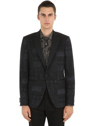 Etro Single Breasted Jacquard Tuxedo Jacket Black