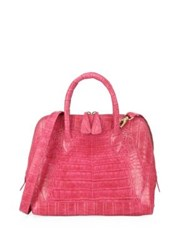 Nancy Gonzalez Small Dome Crocodile Satchel Pink