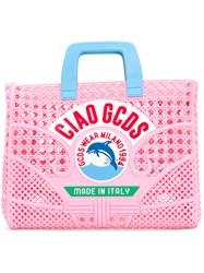 Gcds Ciao Woven Tote Pink And Purple
