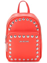 Love Moschino Studded Backpack Women Polyurethane One Size Red