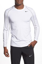 Nike Men's 'Pro Cool Compression' Fitted Long Sleeve Dri Fit T Shirt White Matte Silver Black
