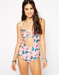 Playful Promises Pastel Fruit Snake Cut Out Swimsuit Pink