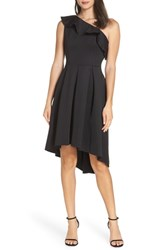 Chi Chi London Peyton One Shoulder High Low Cocktail Dress Black