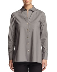 Paperwhite Long Sleeve Bias Cut High Low Tunic Pewter