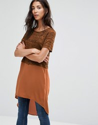 Vero Moda Juca Contrast Fabric Long Tunic Top Adobe Orange
