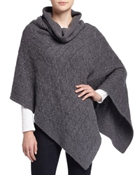 Neiman Marcus Cashmere Cable Knit Cowl Neck Poncho Derby Grey