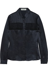 Valentino Bead Embellished Mesh And Satin Shirt Blue