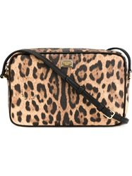 Dolce And Gabbana Leopard Print Crossbody Bag Nude And Neutrals