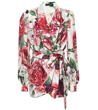 Dolce And Gabbana Floral Silk Wrap Jacket Pink
