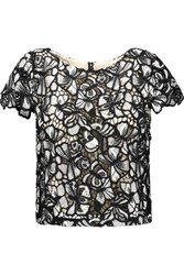 Alice Olivia Eve Cropped Floral Lace Top Black