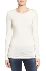 Petite Women's Halogen Long Sleeve Crewneck Tee Ivory Cloud