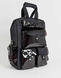 7X Svnx Black Backpack With Clear Plastic Pockets