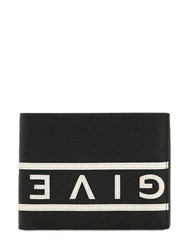 Givenchy Reverse Logo Grained Leather Wallet Black White