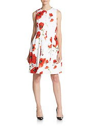 Anne Klein Printed Fit And Flare Scuba Dress Tomato Combo
