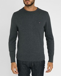 Tommy Hilfiger Charcoal Round Neck Cotton Wool Cashmere Sweater