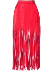 Monse Fringe Midi Skirt Red