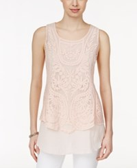 Styleandco. Style And Co. Sleeveless Lace Top Only At Macy's Crushed Petal